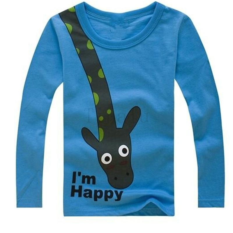 Kids Boys T Shirt Cotton Long Sleeve Giraffe I 39 M Happy Top