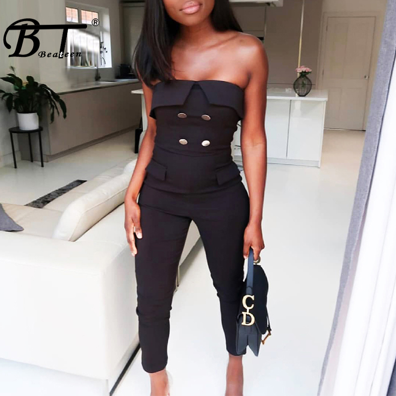 Beateen 2019 Summer New Vestidos Women Fashion Sexy Strapless Button Jumpsuit Elegant Lady Party Club Straight Long Pants