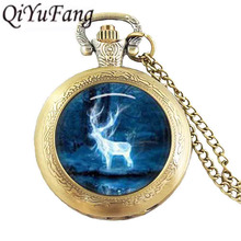 Vintage Pocket Watch 1pcs/lot Hogwarts crest vintage death hallows steampunk Watch womens mens antique deer magic star galaxy(China)