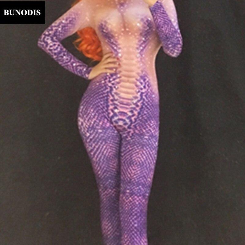 Femmes 3d Serpent Danseuse Deguisement Costume Fête Scène Combinaison Célébrer Discothèque Performance Body Bu127 Violet Impression Porter wUgIxCRwq