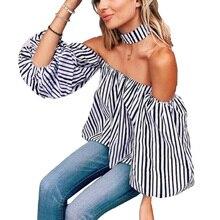 Striped Fashion Women Blouses Sexy Slash Neck 2017 Spring Summer Female Shirts Elegant Ladies Formal Work Wear Office Shirt