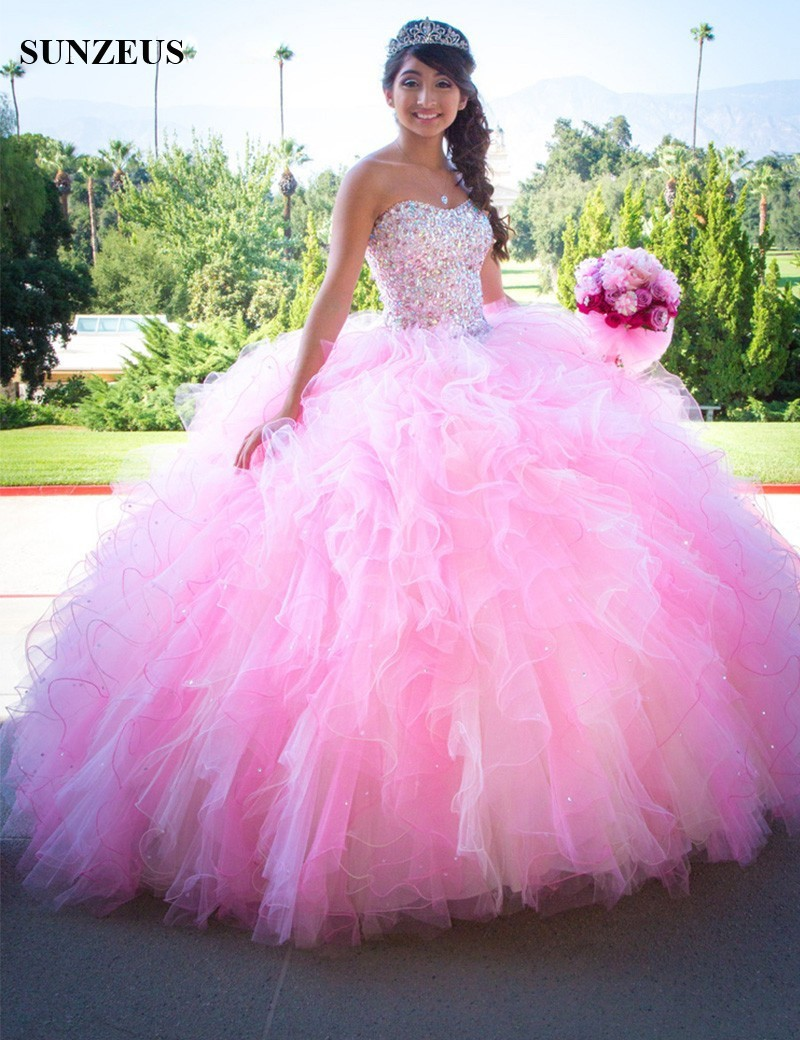 6fc90f912188 Lovely Pink Ball Gown Quinceanera Dresses Sweetheart vestidos 15 anos de  princesa Ruffles Puffy Skirt Glitter Beaded Prom S846-in Quinceanera Dresses  from ...