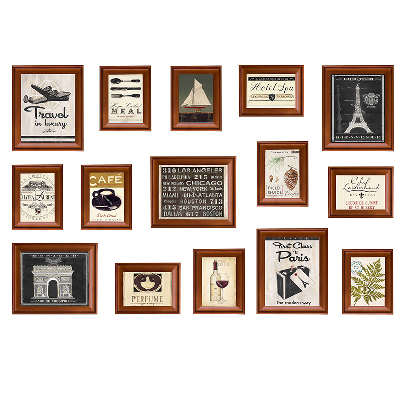 Rectangle American Style Hanging Photo Frame For Wall Decor Study Picture Frame 15Pieces Creative Photo Album Frames foto lijst