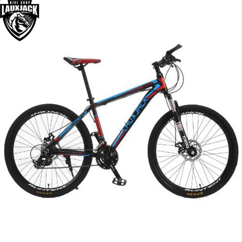 LAUXJACK Mountain Bike Telaio In Alluminio 24/27 Velocità Shimano Meccanico Freno 26