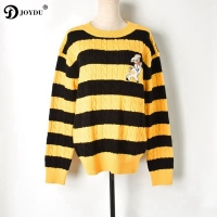 JOYDU Cute Pig Embroidery Yellow Black Stripes Casual Sweater Women Pullover 2019 Runway Designer Twist Jumper Knitted Sweaters