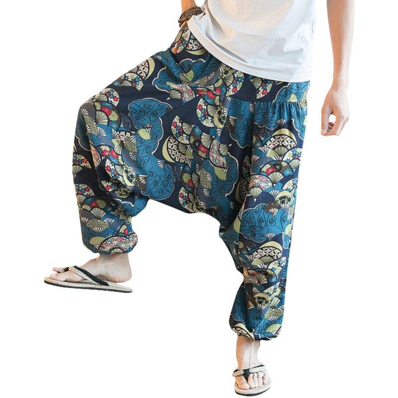 Hip Hop Aladdin Hmong Baggy Cotton Linen Harem Pants Men Women Wide Leg Trousers Boho Casual Pants Cross-pants Cosplay Costume
