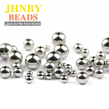 JHNBY 4 styles Stainless steel Spacer beads ball 3/4/6/8MM Metal Round Loose for Jewelry bracelets making DIY Findings