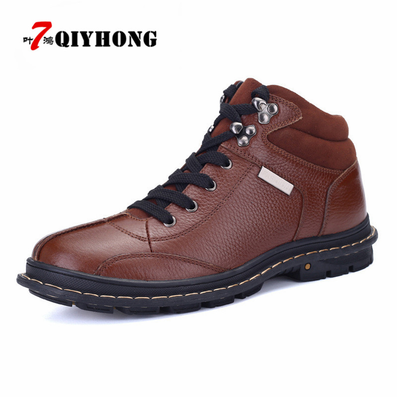 QIYHONG Brand Full Grain Leather Men Boots Plus Size New Style Handmade Warm Men Winter Shoes Lace-Up Outdoor Winter Boots