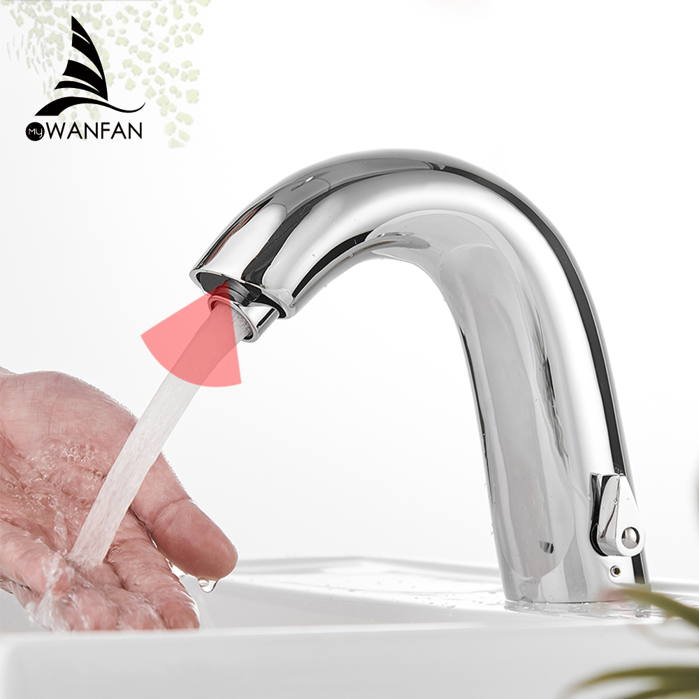 Basin Faucets Automatic Faucet Infrared Bathroom Sink Faucet Touchless Inductive Electric Deck Toilet Wash Mixer Water Tap 8906
