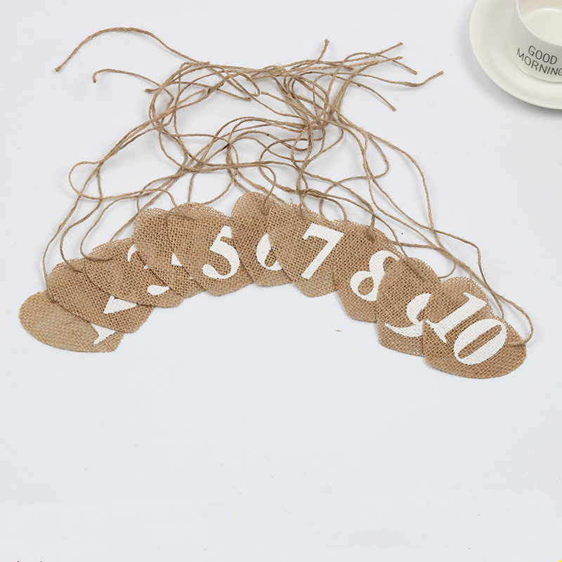 10 Pieces Flax Heart Number Hangs Wedding Decoration Table Direction Signs Birthday Party Decorations Digit 0 to 10 Table Decor