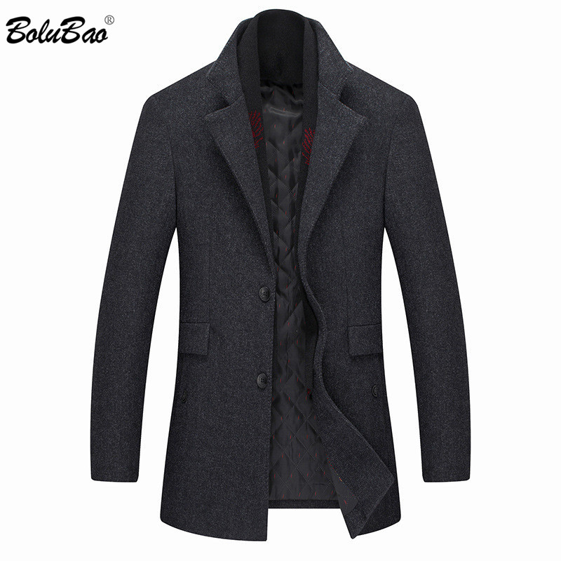 BOLUBAO Brand Men Winter Wool Coat Men's Fashion Solid Color Thick Wool Blends Woolen Pea Coat Male Trench Coat Casual Overcoat