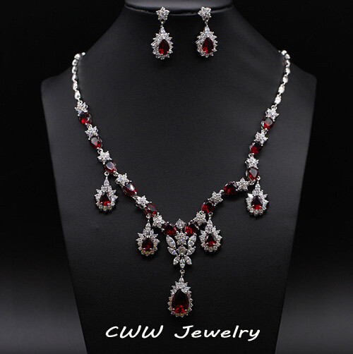 drop bridal red cubic zirconia earrings and necklace wedding costume