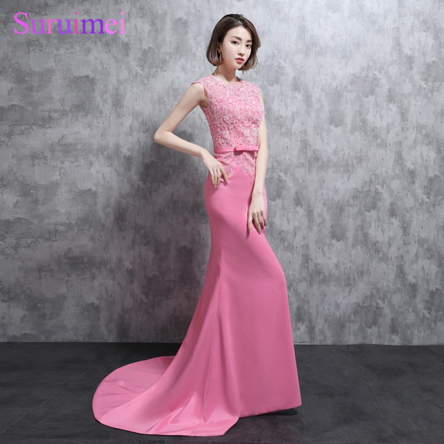 Real Photo Mermaid Evening Dresses With Fashion Applique Short Cap ...