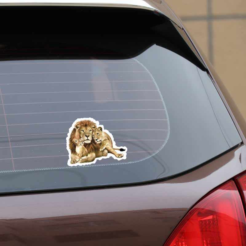 Yjzt 13.7 Cm * 10.5 Cm Keluarga Singa Menarik Kepribadian PVC Stiker Mobil Stiker Grafis 5-0582