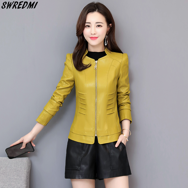 SWREDMI Spring   Leather   Jacket Women Slim Fashion   Leather   Clothing Outerwear High Quality   Suede   Autumn   Leather   Coats