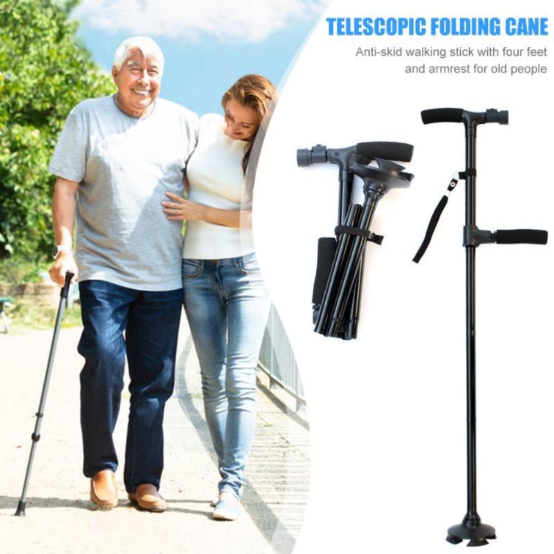 Telescopic Folding Canes LED Light Aged Walking Sticks Poles for the Elder ski camp telescopic baton outdoor hiking poles crutch