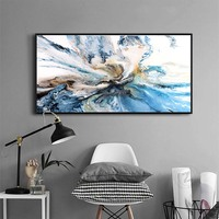 Colorful Ocean Large Abstract Poster Canvas Art handmade Landscape Oil Painting Wall Pictures For Living Room Modern no frame