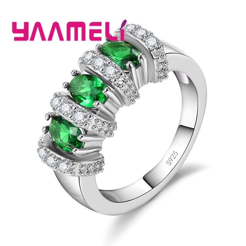 YAAMELI Ring 925 Sterling Silver White Round Crystal Stone White/Red/Green/Sky Blue/Dark Blue Seaside Holiday Dinner For Women