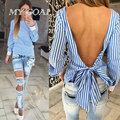 Women Blouses 2016 Fashion White Striped Open Back Sexy Blouse Long Sleeve Shirt Women Clothes
