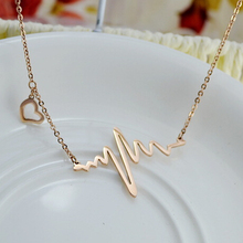 Rose Gold color Heartbeat feeling necklaces & pendants, Cute 316l stainless steel love necklace collares mujer womens jewellery