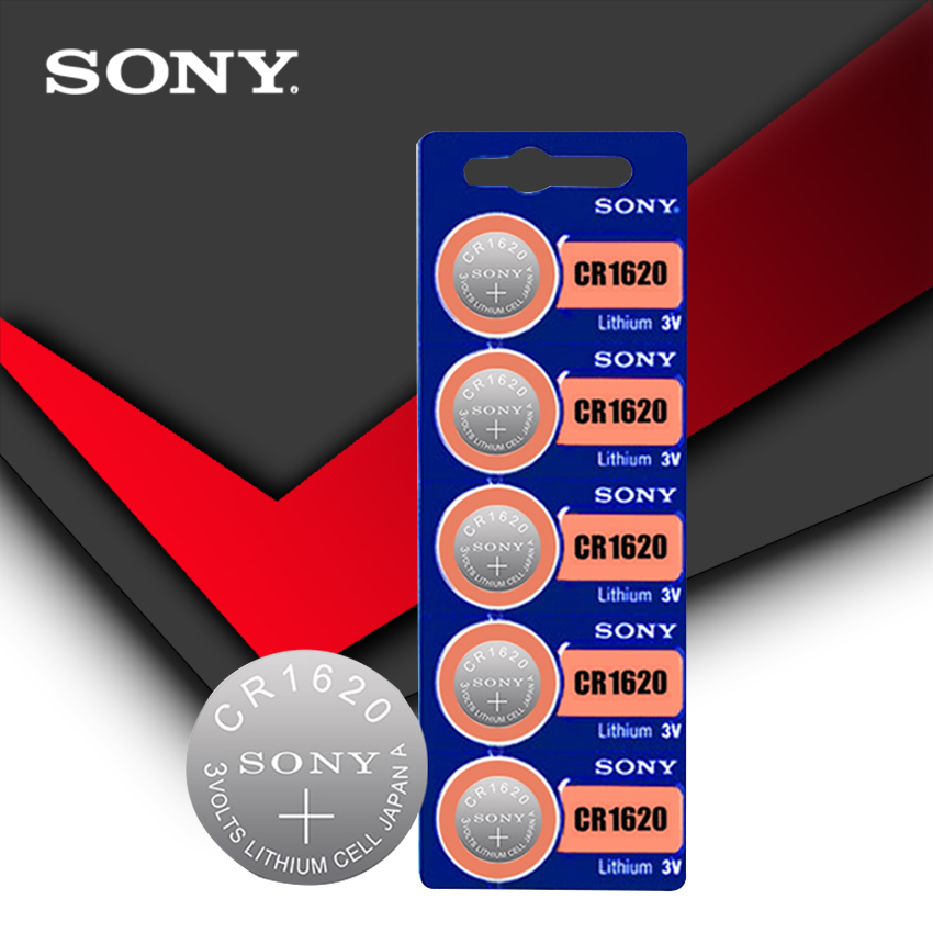 5pc/lot Sony 100% Original CR1620 Button Cell Battery For Watch Car Remote Key Cr 1620 ECR1620 GPCR1620 3v Lithium Battery