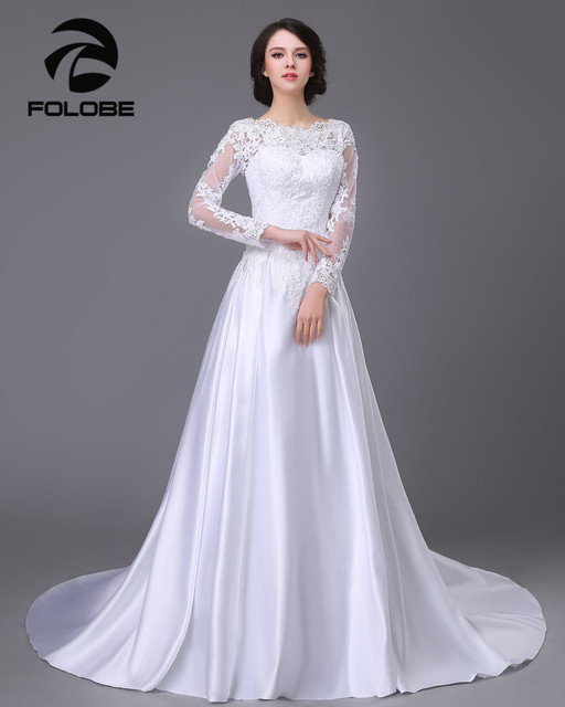 Robe De Mariage Stock US Size 4~22 White/Ivory Scoop Neckline Appliques Lace A-Line Satin Wedding Dresses Vestido De Casamento