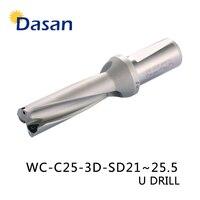 Drill Bits U 3D WC SP C25 SD21 22 23 24 25.5 mm Indexa Insert Drilll High Speed Drilling Precision CNC Expanding Drill Tool