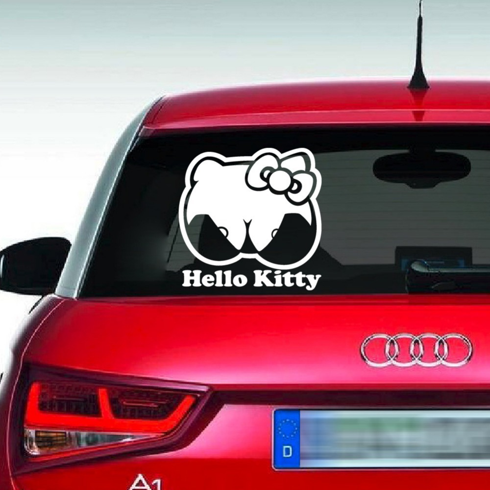 Car glass sticker design - Home Decor High Quality Cartoon Hello Kitty Wall Stickers Vehicle Stickers Glass Stickers