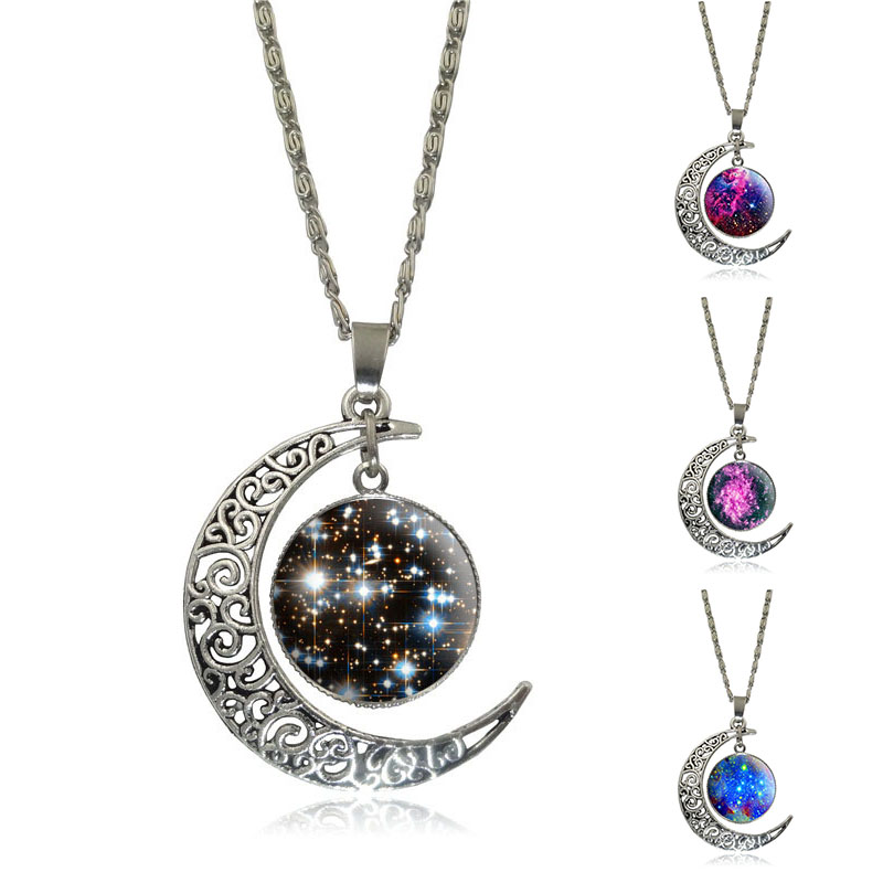Silver Jewelry Galaxy Star Glass Cabochon Art Image Pendant Necklace Half Moon Chain Necklace for Women Creative Gifts