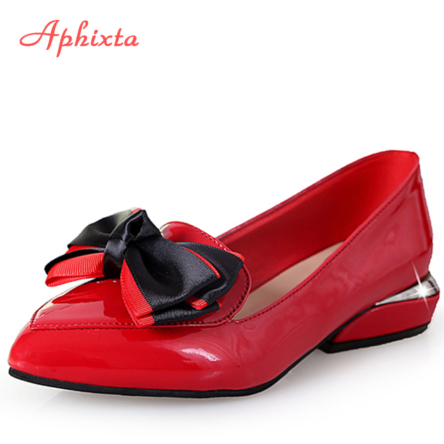 dc3d36187c Aphixta Patent Leather Women Flat Shoes Butterfly-knot Pointed Toe Shoe  Ladies Mary Janes Flats Slip On Big Size Black Red Shoes