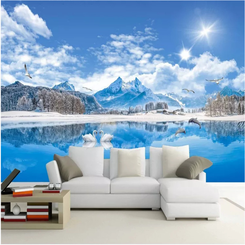 HD Swan Lake Snow Mountain Beautiful Landscape 3D Photo Wallpaper of Nature Wall Papers Home Decor Living Room Wall Paper 3DHD Swan Lake Snow Mountain Beautiful Landscape 3D Photo Wallpaper of Nature Wall Papers Home Decor Living Room Wall Paper 3D