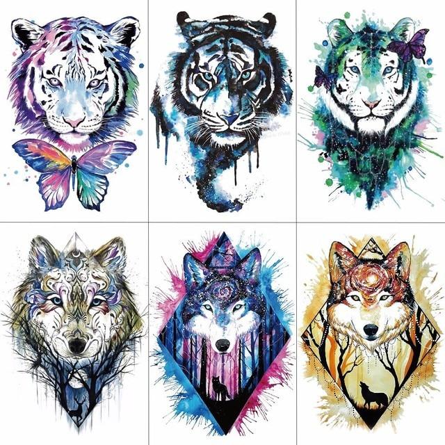 TCOOL Men Arm Sleeve Tattoo Sticker Wolf Tiger Temporary Tattoos Women Fake Hand Tattoos Body
