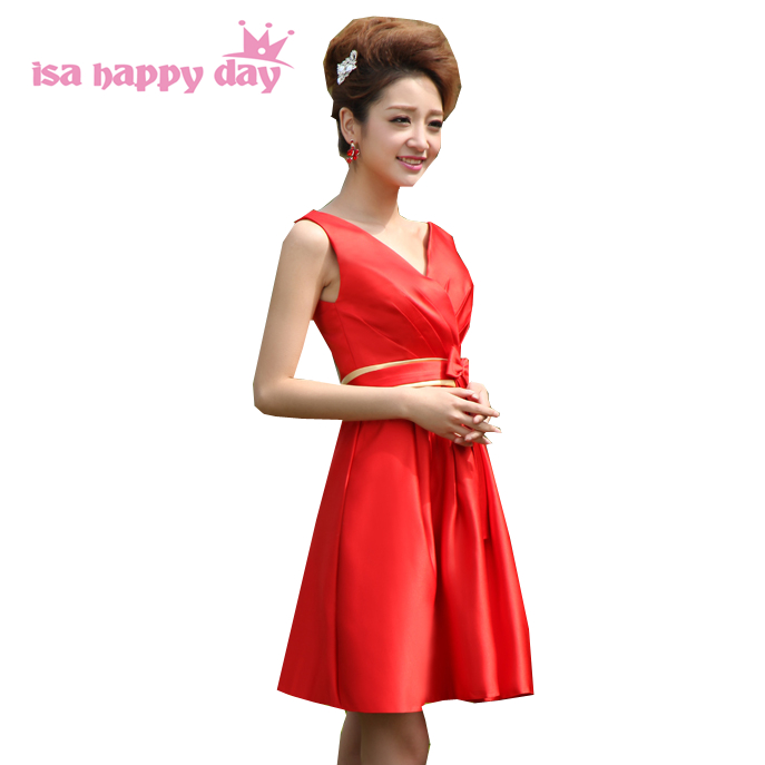 red bridemaids   bridesmaids   ladies brides maid   dresses   short a line new fashion 2019 bridesmade v neck satin   dress   with bow W512