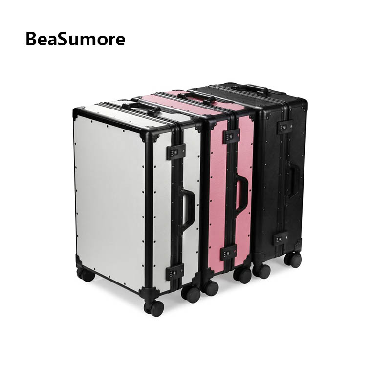 BeaSumore New High Grade Aluminum Frame Rolling Luggage Spinner 20 Inch Pink Women Cabin Suitcase Wheels Men Business Trolley