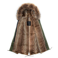 Корейский дизайн длинная стильная искусственного бобра кролик выстроились и реальные воротник Army Green пальто коричневый Меховая куртка муж