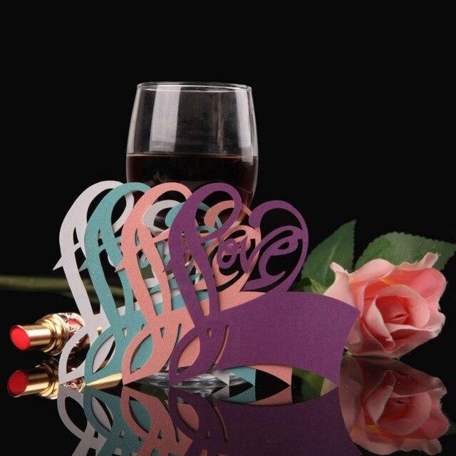 50pcs Lot Love Heart Escort Table Mark Wine Glass Name Place Card