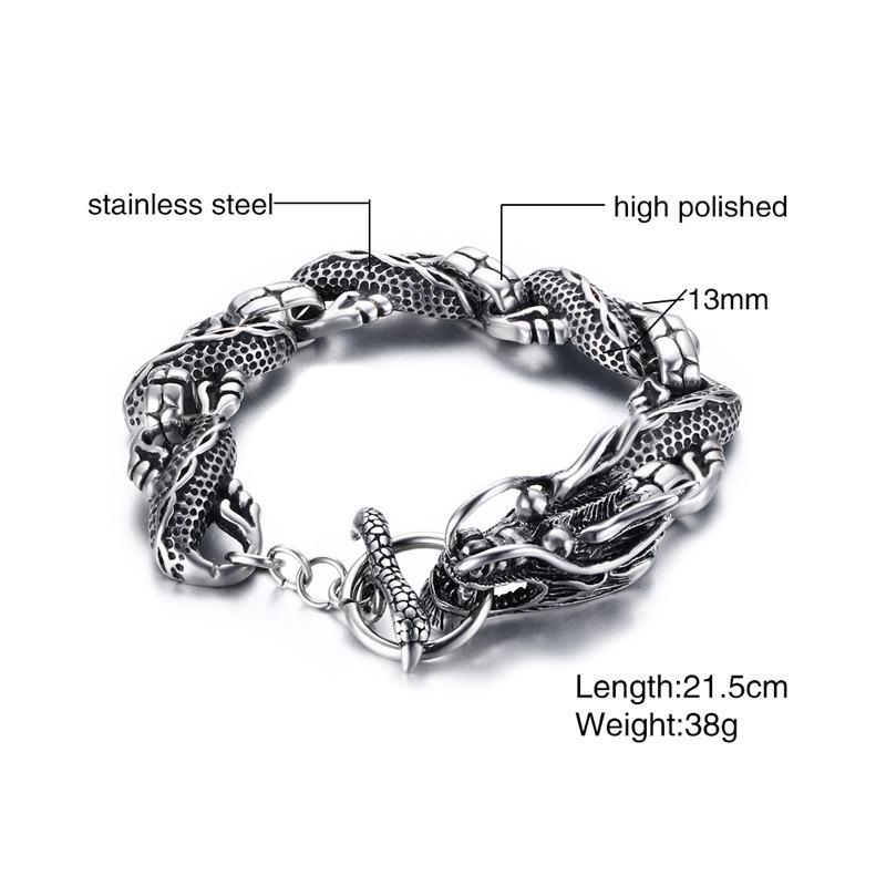 Mens Dragon Themed Link Armband med Växla Lås Silver Färg Män - Märkessmycken - Foto 2