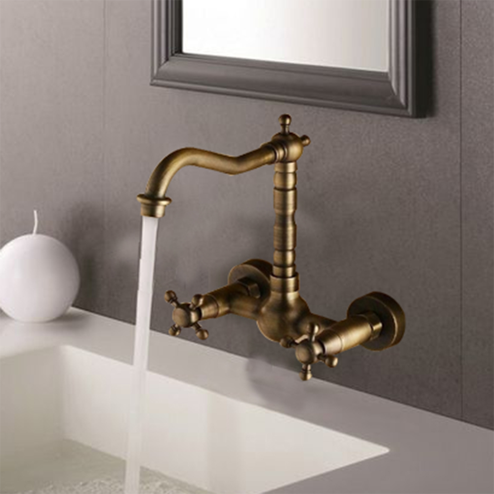 Double Handles Kitchen Cozinha Torneira Antique Brass Swivel Wall Mounted Bathroom Faucet 8633 Single Hole Faucets