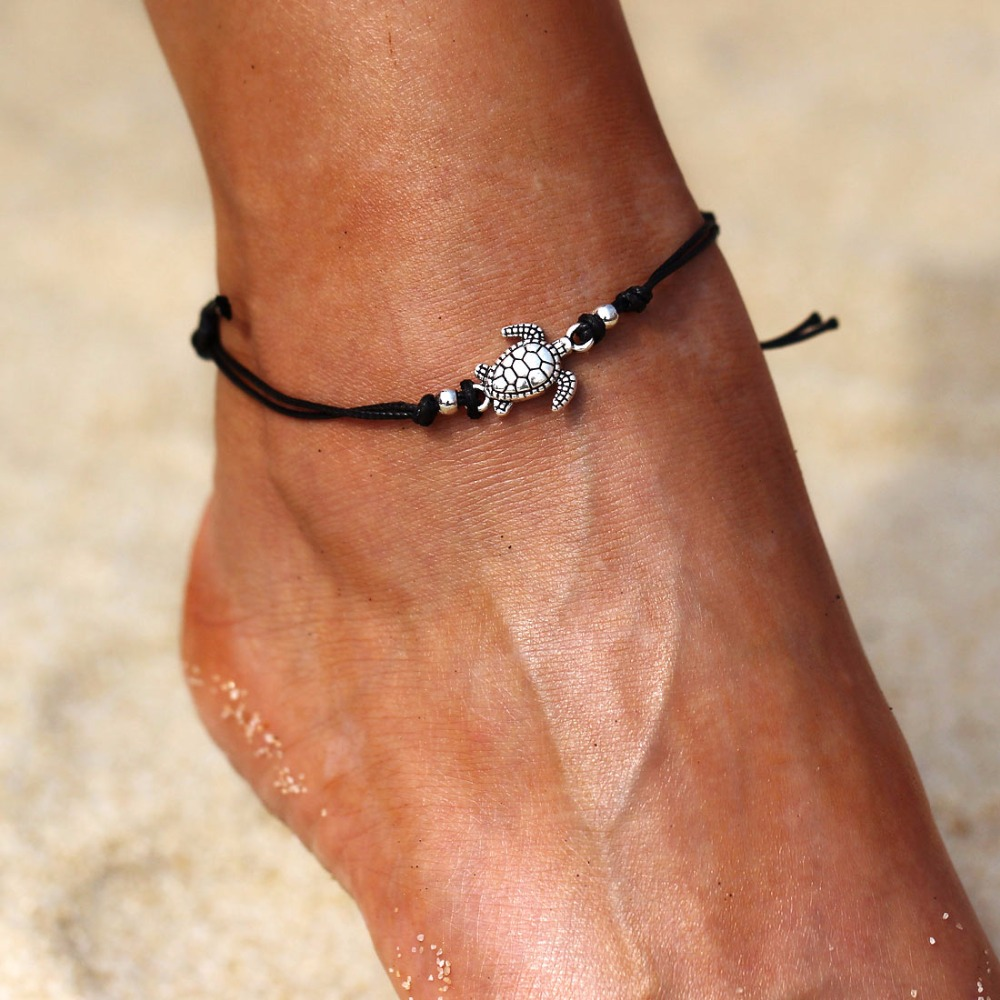 1 Stück Schwarz Seil Einstellbar Schildkröte Anhänger Charme Armbänder Fußkettchen Für Frauen Strand Schmuck Freigabepreis