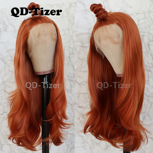 Image 2 - QD Tizer Natural Wavy Hair Orange Color High Temperature Fiber Heat Resistant Synthetic Lace Front Wigs For Women
