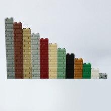 """100 шт. замок город МОС """"сделай сам"""" войны блочный кирпичный 1X2 строительные блоки Запчасти совместимы с Lego, креативные игрушки подарок для детей блоки Запчасти"""