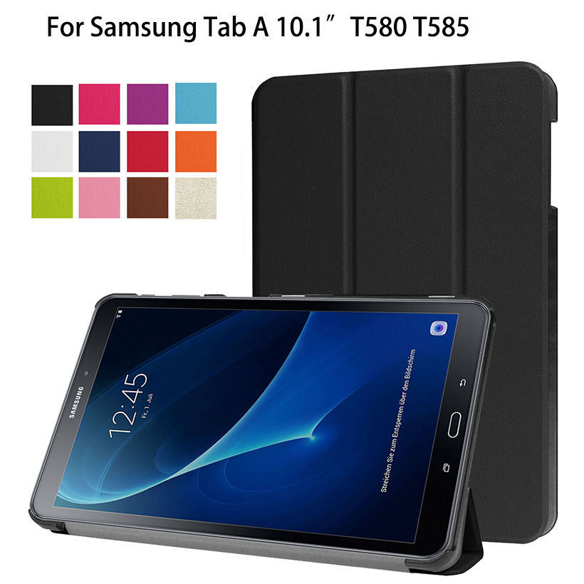Ultra Slim Folding Flip Leather Case For Samsung Galaxy Tab A A6 10.1 2016 T580 T585 SM-T580 Cases Cover Funda Tablet Skin Shell все цены
