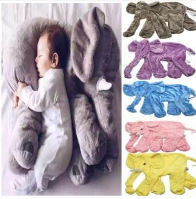 60 سنتيمتر الرضع الفيل الجلد لينة استرضاء الفيل اللعب الهدوء دمية الطفل لعبة الفيل وسادة ألعاب من القطيفة محشوة دمية مع سحاب
