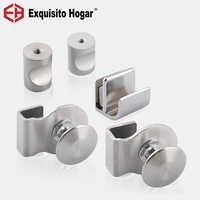 Open Hole Knobs Glass Cabinet Furniture Door Handle Wine Cabinet Wooden Door Modern Glass Clip Handle