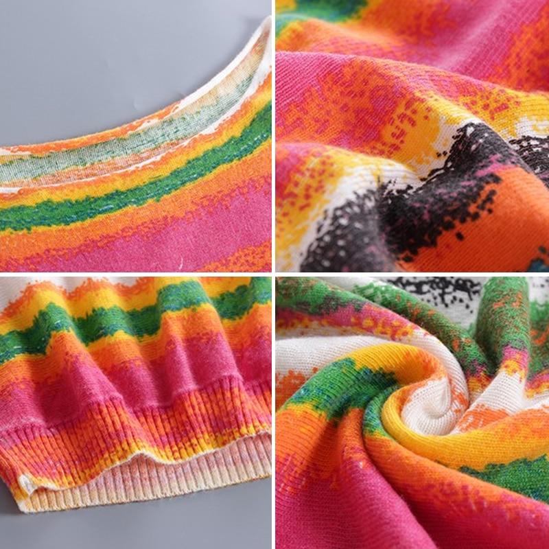 XIKOI Oversized lange dames sweaters Mode Batwing mouw Print Slash - Dameskleding - Foto 5