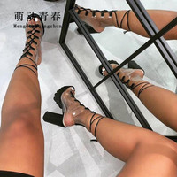 Open Toe High Heeled Sandals Women Sexy PVC Clear Lace Up Platform Summer Boots Pumps Mujer Hollow Out Ankle Strap Sandalias