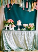 ShinyBeauty Sequin Tablecloth Matte Green 6x6ft Square Sparkle Tablecloth Glitter Table Cloth Luxurious Tablecloth R