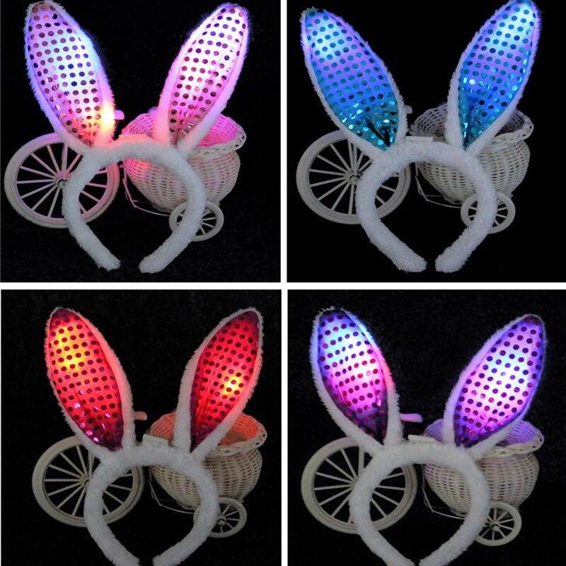 Yeni Işık Glow Yanıp Sönen Peluş Tavşan Tavşan Kulakları - Tatiller ve Partiler Için - Fotoğraf 5