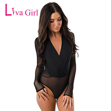 купить Liva Girl Sexy Black Sheer Mesh Plus Size Bodycon Bodysuit Women Long Sleeve V-Neck Jumpsuit See Through Leotard XXL Bodysuits онлайн