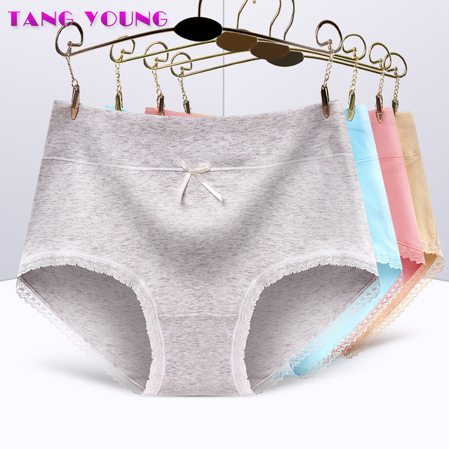 e6709b06c3 TANG YOUNG Sheer Cotton Underwear Women Slimming Lace Edge Panties Solid  Soft Seamless Briefs Mid Rise Panties Sexy Intimates